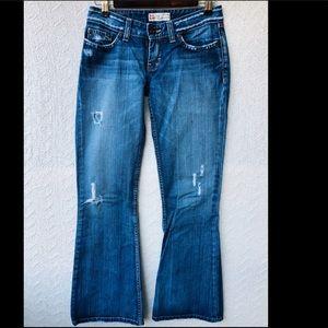 BKE star 20 distressed dark wash jeans